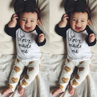 2PCS Newborn Baby Boy Girls Long Sleeve Tops+Legging Pants Outfits Clothes Set