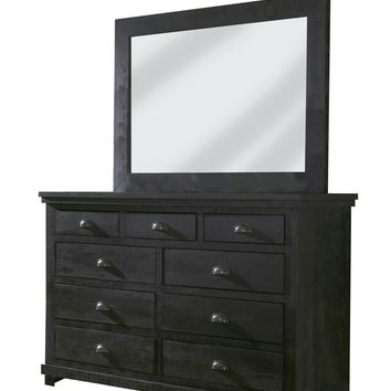Willow Casual Drawer Dresser And Mirror Distressed Black