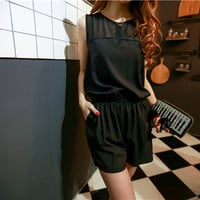 Black Sleeveless Chiffon Romper