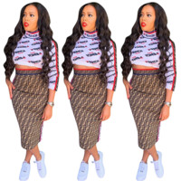 FENDI Printed Alphabet Long Sleeve Skirt Suit Two-piece