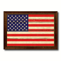 American Vintage Flag United States of America Canvas Print with Brown Picture Frame Home Decor Gifts Wall Art Decoration Artwork