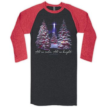 Southern Couture Christmas All Is Calm Raglan Long Sleeve T-Shirt