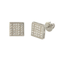 Sterling Silver Screw Back Earrings Pave Cubic Zirconia CZ Studs 7mm Square