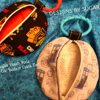 Pacifier Pouch Ear Bud Case Coin Purse Zipper Pouch Pods Chicago Blackhawks & Whovian Fabric Print Adorable Pouch Pods Designs by Sugarbear