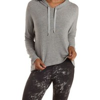Lt Gray Heather Oversized Pointelle Knit Hoodie by Charlotte Russe