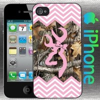 Country Girl Light Pink and Camo Chevron Buck Iphone 4 / 4s Case Hard Snap on Back Cover
