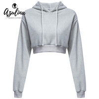 Casual Gray Black Cropped Hoodies Pullovers Female Sweatshirt Winter Sexy Grey Short Crop Hoodie for Women Tracksuit
