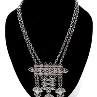 Boho Fringed Tassel Necklace Silver Tone Ethnic Tribal Feel Ornate Open Work Design Pendant Double Chain Statement Necklace Vintage 1960's