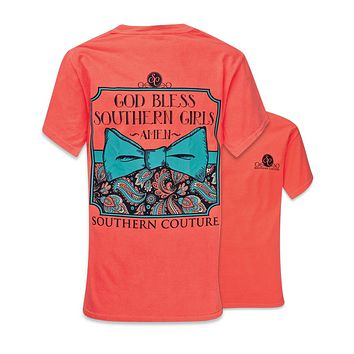 Southern Couture God Bless Southern Girls Amen Pattern Bow Comfort Colors Red Orange Girlie Bright T Shirt