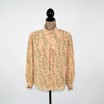 Vintage 80s Silk Blouse Large Long Sleeve Shirt Women Top 1980s Oversized Mockneck Abstract Beige Gray Peach Vintage Clothing Women Size 14