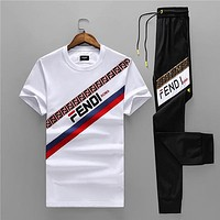 Boys & Men FENDI Fashion Casual Shirt Top Tee Pants Trousers Set Two Piece