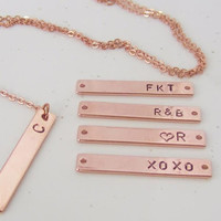Initial Rose Gold Bar Necklace, Bridesmaid Gift, Personalized  Rose Gold Bar Necklace, Wedding Gift, Initial necklace