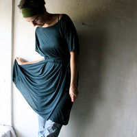 Teal Green Tunic Dress in light cotton jersey by larimeloom