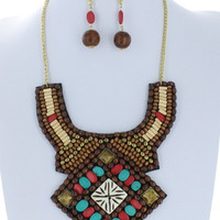 Aztec Bib Wood Bead Collar Necklace Trendy Boho Jeweled Earring Set Fashion Multicolor Costume Jewelry Gift