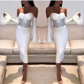 White Zipper Cut Out Off Shoulder Bell Sleeve Bodycon Elegant Party Midi Dress