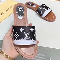 LV New fashion monogram print shoes flip flop slippers