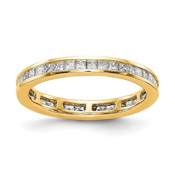 1ct Channel Set Princess Cut Diamond Eternity Wedding Band Ring 14k Yellow Gold
