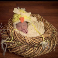 Bonnet, Yellow Chicken Hat, Photo Props, Photography Props, Chicken, Chick Hat, Newborn Chick Hat, Farm, Country, Country Chick Hat, Outfit