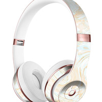 Gold Slate Marble Surface V18 Full-Body Skin Kit for the Beats by Dre Solo 3 Wireless Headphones