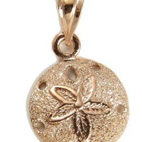 SOLID 14K ROSE GOLD HAWAIIAN SAND DOLLAR CHARM PENDANT 12.40MM