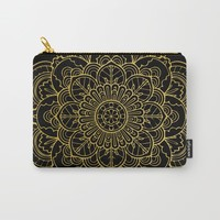 Golden Yellow Mandala Carry-All Pouch by allisone