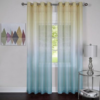 """Prisma Set of 2 Ombre Sheer Window Curtain Panels (52"""" x 84"""") - Blue"""
