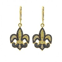 3/4ct tw Diamond Fleur de Lis Earrings in 14K Yellow Gold - Diamond Earrings - Jewelry & Gifts