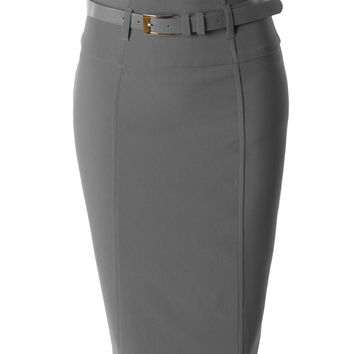 LE3NO Womens High Waisted Midi Skirt with Belt (CLEARANCE)