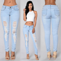 Ripped Holes Slim Ladies Pants Jeans [10390656973]