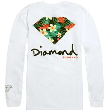 Diamond Supply Co Maui Long Sleeve T-Shirt - Mens Tee - White