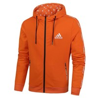 Adidas New fashion letter print men leisure hooded long sleeve top jacket cardigan Red