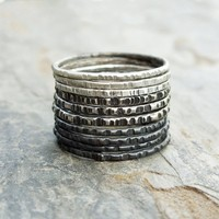 Sterling Silver Ombre Stacking Rings Set of 10