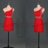 Short red chiffon homecoming dress with crystals,2014 simple one shoulder dress for holiday party,cheap sheath mini prom dress under 100.