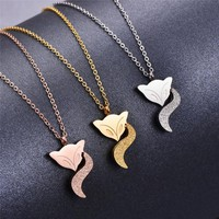 Martick Lovely Animal Scrub Fox Pendant Necklace Link Chain Rose Gold color Fashion Jewelry For Women P81