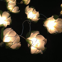 White Lotus with leaf string lights for Patio,Wedding,Party and Decoration (20 bulbs)
