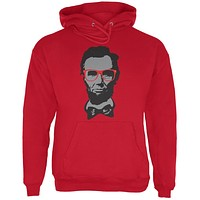 Abraham Lincoln Hipster Geek Glasses Red Adult Hoodie