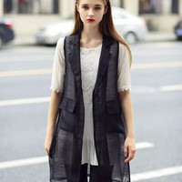 Black Sheer Mesh Sleeveless Vest Pocket Loose Jacket