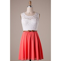 Neon Coral and White Dress with Bow Belt