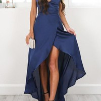 Royal Blue Spaghetti Straps Irregular Backless V-neck High-Low Vintage Sleeveless Homecoming Party Maxi Dress