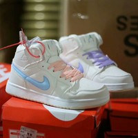 """""""Nike Air Force 1"""" Women Casual Fashion Multicolor Logo High Help Plate Shoes Sneakers"""