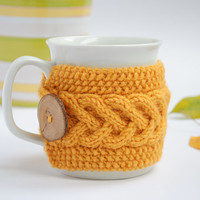 Cup Cozy in Yellow, Knitted Mug Cozy, Coffee Cozy, Tea Cup Cozy, Handmade Wooden Button, Coffee Cozy Sleeve, Warmer, Fall, Autumn, Gift