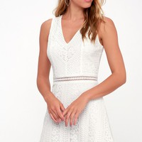 Love You Always White Lace Skater Dress