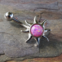 Pink Fire Opal Sun Belly Button Jewelry Ring