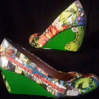 Avengers - Iron Man, Thor, Captain America, and Hulk - Comic Book Heels - Comic Book Shoes - Comic Book Wedges - Geekery