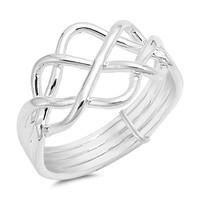 925 Sterling Silver Sacred Geometry Ring 12MM