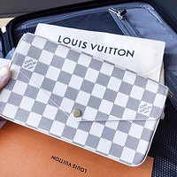 LV Louis Vuitton LV Women Shopping Bag Leather White Tartan Crossbody Satchel Shoulder Bag Set Three Piece