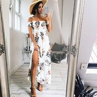 Boho Fashion Off Shoulder Short Sleeve Flower Print Split Maxi Dress