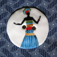 Ceramic handmade buttons, brooch handpainted African woman gesturing pattern design turquoise, green, black, red, brown, earthen, dress