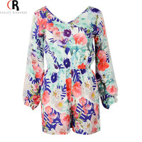 Long Lace Sleeve Casual Slim Jumpsuit Romper Floral Prints Fall Hollow Out Back Playsuit 2016 Spring Women Clothing