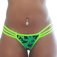 Low Rise Triple Band V Marijuana Thong-Stripper Clothes